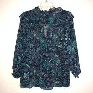 Anthropologie Tops - NWT ANTHROPOLOGIE Blue floral Tie Front Blouse L